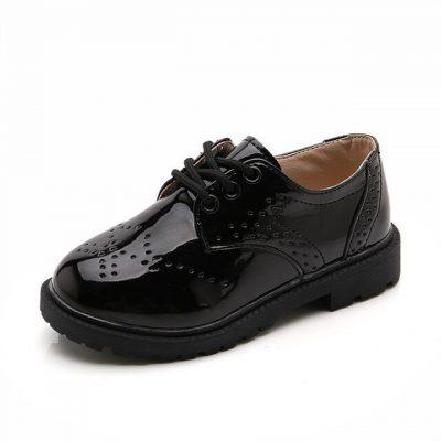 Fashion children black leather